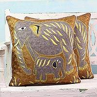 Cotton cushion covers, 'Grey Indian Elephants' (pair) - Elephant Theme Embroidered Chainstitch Cushion Covers (Pair)