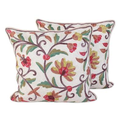 Cotton cushion covers, 'Royal Indian Peony' (pair) - Floral Theme Embroidered Chainstitch Cushion Covers (Pair)