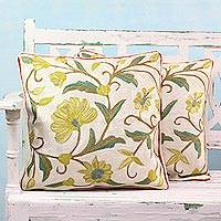 Cotton cushion covers, 'Sunny Indian Peony' (pair) - Set of Two Chainstitch Embroidered Floral Cushion Covers