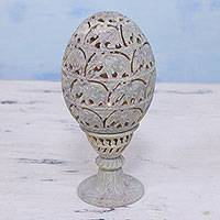 Soapstone candleholder, 'Elephant Egg' - Soapstone Candleholder with Jali Elephant Motifs from India