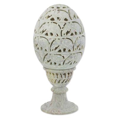 Soapstone candleholder, 'Elephant Egg' - Soapstone Candleholder with Jali Elephant Motifs from India
