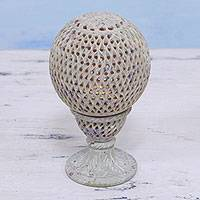 Soapstone candleholder, 'Past Reflections' - Artisan Crafted Jali Spherical Candleholder from India
