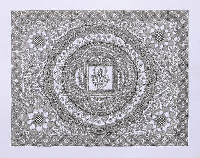 Original Signed Madhubani Painting of Lord Vishnu