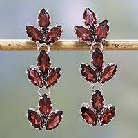 Garnet dangle earrings, 'Radiant Red Leaves' - Garnet and Sterling Silver Leafy Dangle Earrings from India