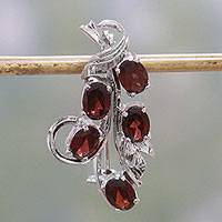 Rhodium plated garnet brooch, 'Princess of Red Leaves' - Rhodium Plated Garnet and Sterling Silver Leaf Brooch