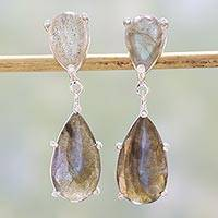 Labradorite dangle earrings, 'Twilight Delight' - Labradorite and Cubic Zirconia Dangle Earrings from India