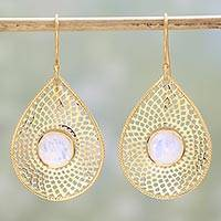 Gold plated rainbow moonstone dangle earrings, 'Webbed Drops' - Gold Plated Rainbow Moonstone Dangle Earrings from India