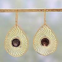 Gold plated smoky quartz dangle earrings, 'Webbed Drops in Brown' - Gold Plated Smoky Quartz Dangle Earrings from India