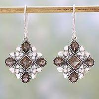 Smoky quartz dangle earrings, 'Butterfly Flowers' - Smoky Quartz and Sterling Silver Dangle Earrings from India