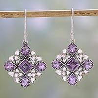 Amethyst dangle earrings, 'Butterfly Flowers in Purple' - Amethyst and Sterling Silver Dangle Earrings from India