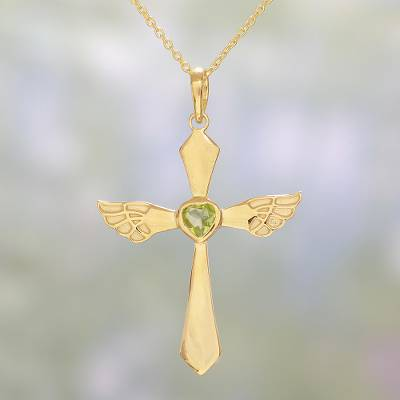 Gold plated peridot cross pendant necklace from india heavenly gold plated peridot pendant necklace heavenly wings in green gold plated peridot mozeypictures Gallery