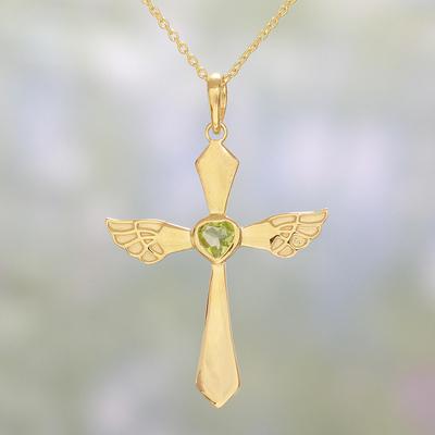 Gold plated peridot cross pendant necklace from india heavenly gold plated peridot pendant necklace heavenly wings in green gold plated peridot aloadofball Gallery