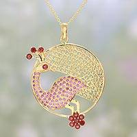 Gold plated garnet and amethyst pendant necklace, 'Sunshine Peacock' - Gold Plated Garnet and Amethyst Peacock Pendant Necklace