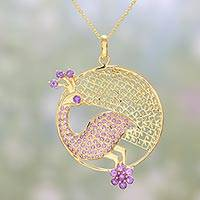 Gold plated amethyst pendant necklace, 'Sunshine Peacock in Purple' - Gold Plated Amethyst Peacock Pendant Necklace from India