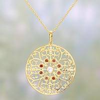 Gold plated garnet pendant necklace, 'Sparkling Vines in Red' - Artisan Crafted Gold Plated Garnet Indian Pendant Necklace