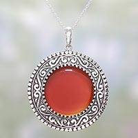 Onyx pendant necklace, 'Vermilion Fascination' - Sterling Silver and Red Onyx Pendant Necklace from India