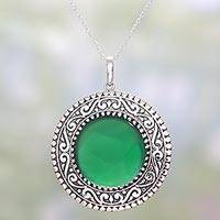 Onyx pendant necklace, 'Viridian Fascination' - Green Onyx and Sterling Silver Pendant Necklace from India