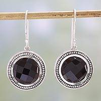 Onyx dangle earrings, 'Fascinating Ropes' - Black Onyx and Sterling Silver Dangle Earrings from India