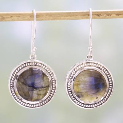 Labradorite dangle earrings, 'Fascinating Ropes' - Labradorite and Sterling Silver Dangle Earrings from India
