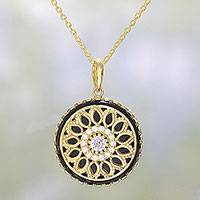 Gold plated onyx pendant necklace, 'Petal Grandeur in Black' - Gold Plated Black Onyx Pendant Necklace from India