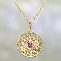 Gold plated amethyst and chalcedony pendant necklace, 'Petal Grandeur' - Gold Plated Amethyst and Chalcedony Indian Pendant Necklace