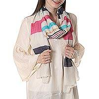 Wool shawl, 'Pastel Stripes' - Woven Striped Wool Shawl in Multicolor by Indian Artisans