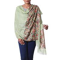 Wool shawl, 'Fantasy Flutter' - Wool Butterfly Shawl in Light Olive by Indian Artisans