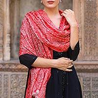 Wool shawl, 'Strawberry Paisley' - Woven Indian Wool Shawl with Paisley Motifs in Strawberry
