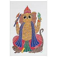 Gond painting, 'Majestic Ganesha' - Signed Multicolored Gond Painting of Ganesha from India