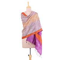 Tussar silk shawl, 'Magical Beehives' - 100% Indian Tussar Silk Shawl with Lavender Ginger Geometry