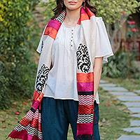 Tussar silk shawl, 'Princess of Jaipur' - Hand Block Printed 100% Tussar Silk Shawl from India