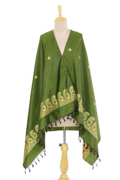 Silk shawl, 'Olive Luxury' - 100% Silk Olive Green Indian Shawl with Paisley Pattern