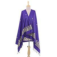 Silk shawl, 'Purple Luxury' - 100% Silk Purple Indian Shawl with Paisley Pattern