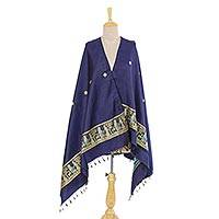 Silk shawl, 'Royal Memories in Navy' - Indian Jacquard Woven 100% Silk Shawl in Navy