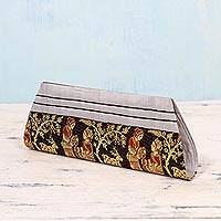 Silk clutch handbag, 'Royal Love in Black and Grey' - Black and Grey 100% Silk Clutch Handbag from India