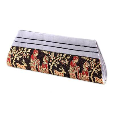 Black and Grey 100% Silk Clutch Handbag from India