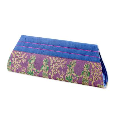 Blue and Lilac 100% Silk Clutch Handbag from India