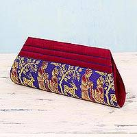 Silk clutch handbag, 'Royal Love in Red and Blue' - Red and Blue 100% Silk Clutch Handbag from India