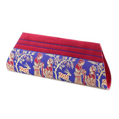Red and Blue 100% Silk Clutch Handbag from India