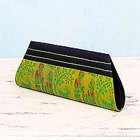 Silk clutch handbag, 'Royal Love in Gold and Navy' - Gold and Navy 100% Silk Clutch Handbag from India