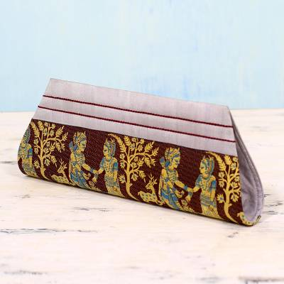 Silk clutch handbag, 'Royal Vow in Brown and Grey' - Grey and Burnt Umber 100% Silk Clutch Handbag from India