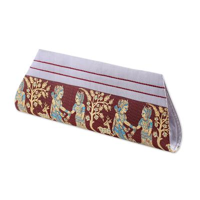 Novica Silk clutch handbag, Royal Vow in Brown and Grey