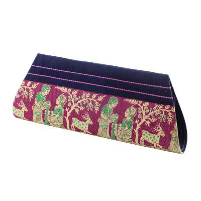 Navy and Magenta 100% Silk Clutch Handbag from India