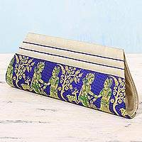 Silk clutch handbag, 'Royal Vow in Blue and Bone' - Sapphire and Bone 100% Silk Clutch Handbag from India