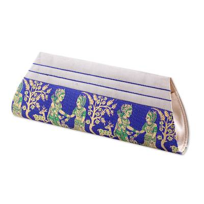 Sapphire and Bone 100% Silk Clutch Handbag from India