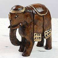 Wood sculpture, 'King of Elephants' - Hand Carved Kadam Wood Elephant Sculpture with Gold Tone