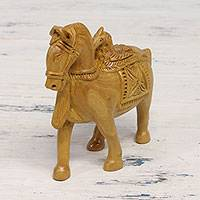 Wood sculpture, 'Friendly Alliance' - Hand Carved Kadam Wood Horse and Eagle Sculpture from India