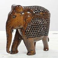 Wood sculpture, 'Jali Elephant' - Hand Carved Kadam Wood Jali Elephant Sculpture from India