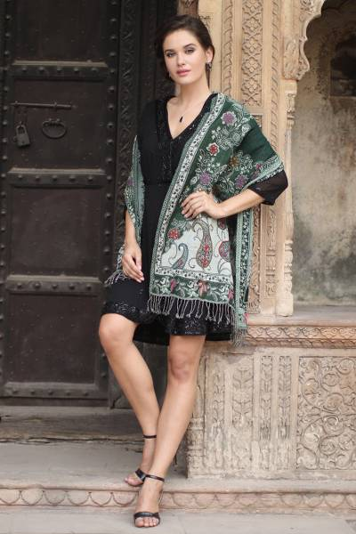 Jamawar wool shawl, 'Snowy Forest' - Hand Embroidered Wool Shawl with Floral and Paisley Motifs