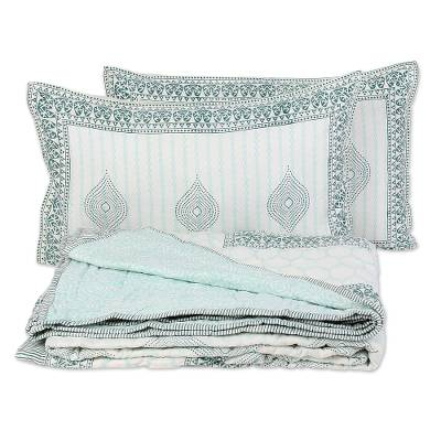 Block printed cotton bedding set 'Sophisticated Charm' (full, 3 pieces) - Full Quilt and 2 Pillow Shams Hand Stamped from India